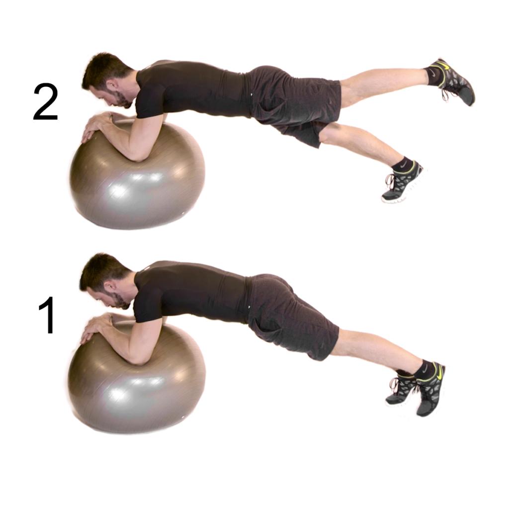 Plank su fitball ad una gamba