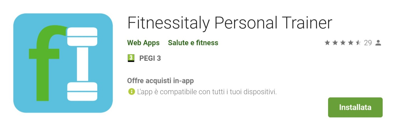 Screenshot of Fitnessitaly Personal Trainer - App su Google Play